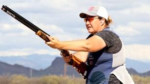 Kim Rhode Pointing Shotgun