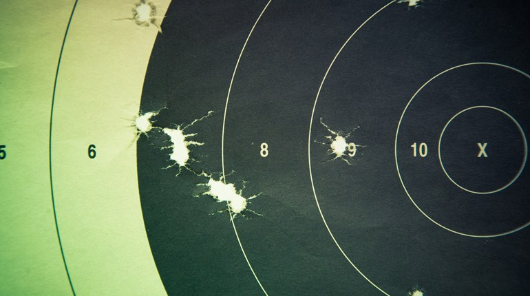 Target With Rifle Holes